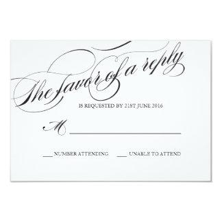 """Tarjeta de la respuesta del boda de la escritura invitación 3.5"""" x 5"""""""