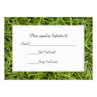 Tarjeta de la respuesta del boda de la hierba verd tarjetas de visita grandes