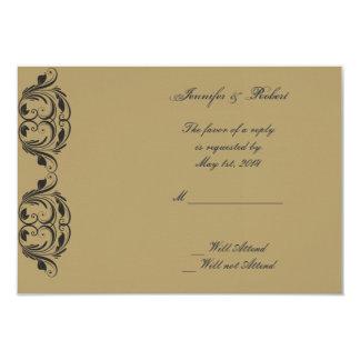 Tarjeta de la respuesta del boda de la mascarada invitación 8,9 x 12,7 cm