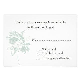 Tarjeta de la respuesta del boda de la palmera anuncios personalizados