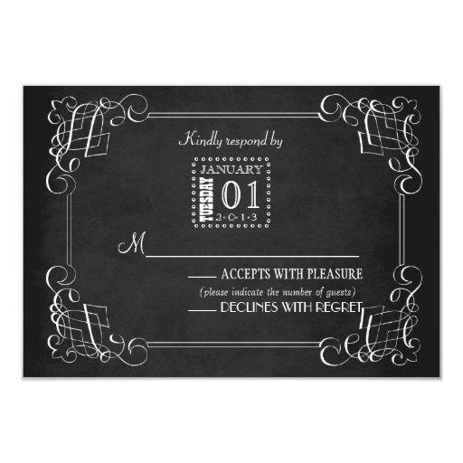 """Tarjeta de la respuesta del boda de la pizarra del invitación 3.5"""" x 5"""""""