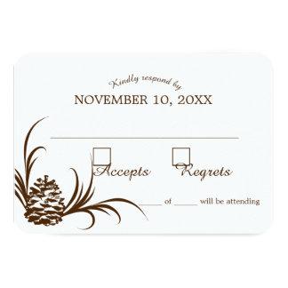 """Tarjeta de la respuesta del boda de la silueta del invitación 3.5"""" x 5"""""""