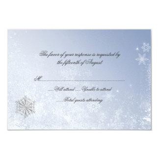 """Tarjeta de la respuesta del boda del copo de nieve invitación 3.5"""" x 5"""""""
