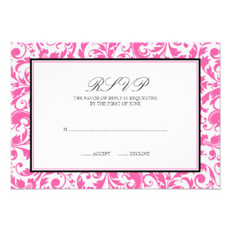 Tarjeta de la respuesta del boda del damasco del r comunicado personalizado