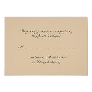 Tarjeta de la respuesta del boda del moreno invitación personalizada