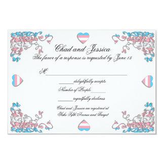 """Tarjeta de la respuesta del boda del orgullo del invitación 3.5"""" x 5"""""""