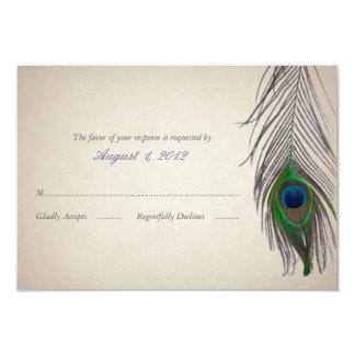 Tarjeta de la respuesta del boda del pavo real del invitación 8,9 x 12,7 cm