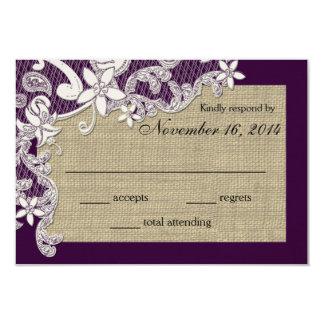 Tarjeta de la respuesta del diseño del cordón del invitaciones personalizada