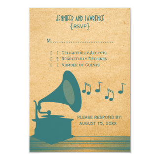 Tarjeta de la respuesta del gramófono del vintage invitación 8,9 x 12,7 cm