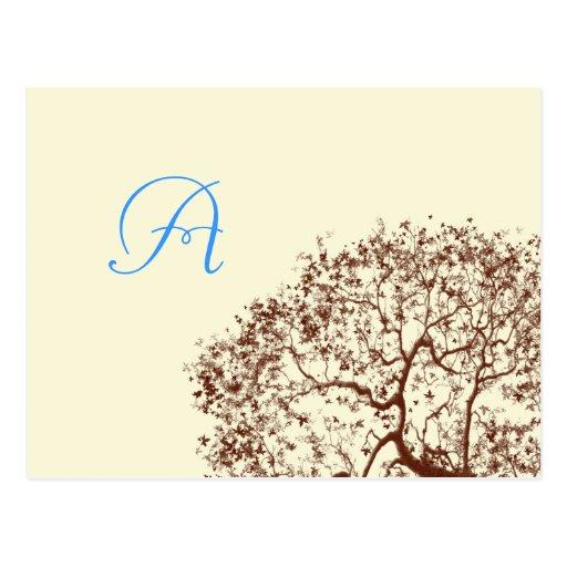 Tarjeta de la respuesta del monograma del boda del tarjetas postales