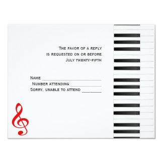 """Tarjeta de la respuesta del piano invitación 4.25"""" x 5.5"""""""