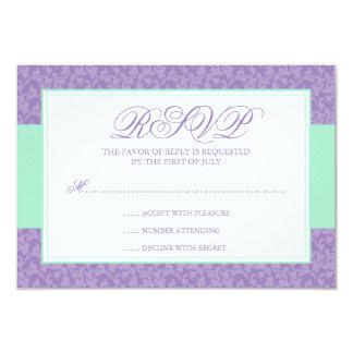 Tarjeta de la respuesta del remolino del damasco invitación 8,9 x 12,7 cm