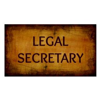 Tarjeta de la secretaria legal visita tarjetas de visita