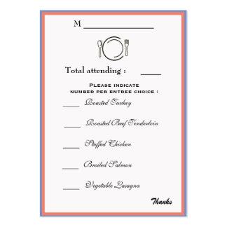 Tarjeta de la selección de la cena tarjetas de visita