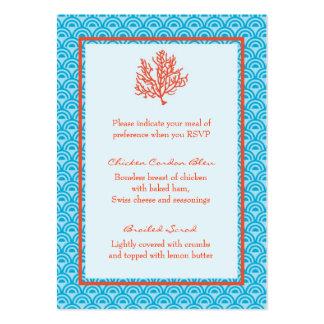 Tarjeta de la selección de menú del coral rojo tarjetas de visita grandes