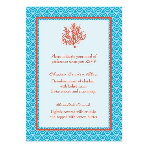 Tarjeta de la selección de menú del coral rojo tarjeta de negocio
