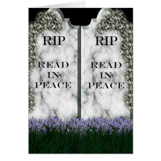 Tarjeta de la señal de la lápida mortuaria
