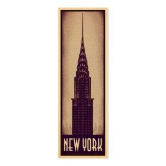 Tarjeta de la señal de Nueva York con la silueta d Tarjeta De Visita