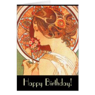 Tarjeta de la señora cumpleaños de Nouveau del art