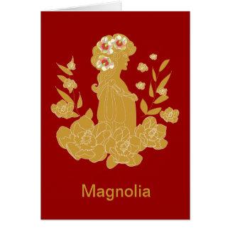 Tarjeta de la señora y de la magnolia del oro