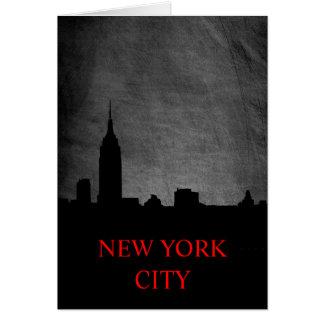Tarjeta de la silueta de Nueva York del negro del