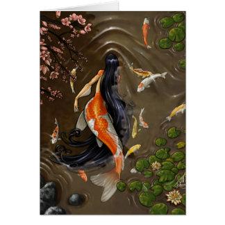 Tarjeta de la sirena de Koi
