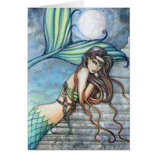 Tarjeta de la sirena de la acuarela por Molly Harr