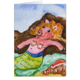 Tarjeta de la sirena del cerdo - Merpig