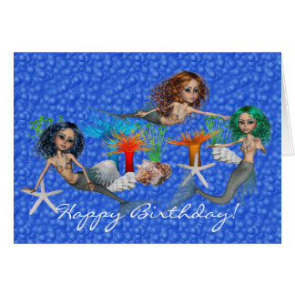 Tarjeta de la sirena del feliz cumpleaños