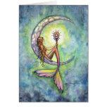 Tarjeta de la sirena por la luna de la sirena de M