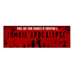 Tarjeta de la supervivencia del zombi tarjeta de visita