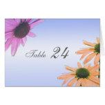tarjeta de la tabla de cena, flores de la
