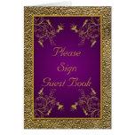 Tarjeta de la tabla de la púrpura real y del oro