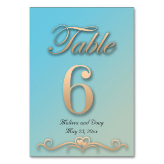 Tarjeta de la tabla del boda del Aquamarine y del