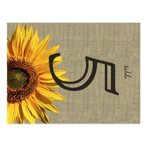 Tarjeta de la tabla del boda del girasol de la arp tarjeta postal