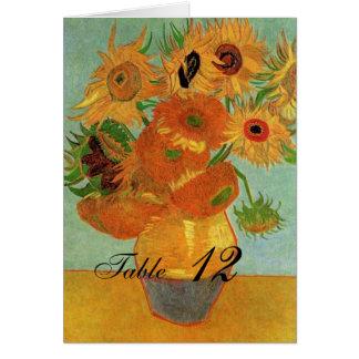 tarjeta de la tabla del boda, florero con doce