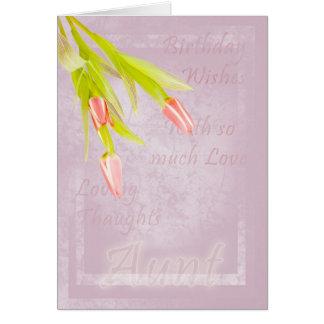 Tarjeta de la tía cumpleaños, con los tulipanes