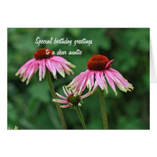 Tarjeta de la tía cumpleaños del Echinacea