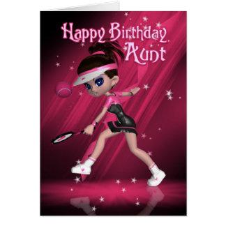 Tarjeta de la tía cumpleaños - tenis
