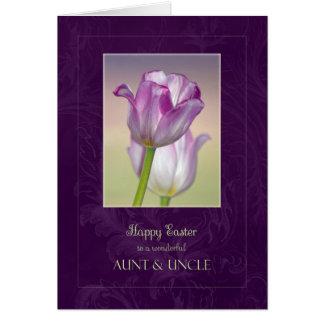 Tarjeta de la tía y de tío pascua/tulipanes de