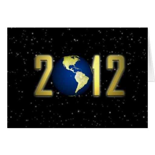 Tarjeta de la tierra de la Feliz Año Nuevo 2012