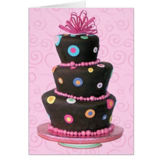 Tarjeta de la torta de cumpleaños de la diversión