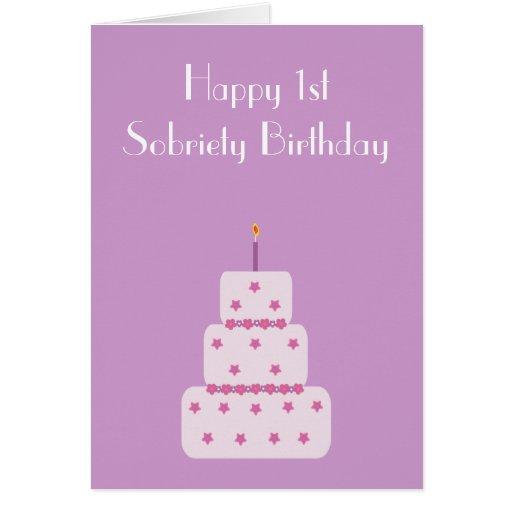 tarjeta de la torta de cumpleaños de la sobriedad