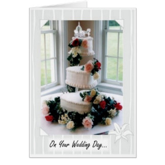 Tarjeta de la torta del día de boda
