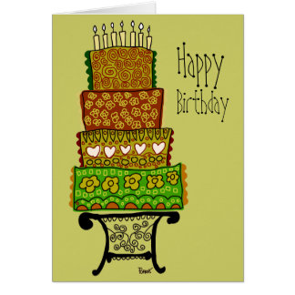 Tarjeta de la torta del feliz cumpleaños del vinta