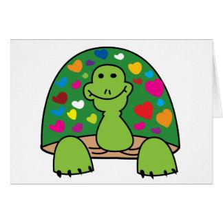 Tarjeta de la tortuga de los corazones