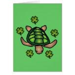 Tarjeta de la tortuga y del trébol