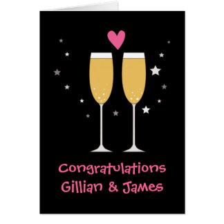 Tarjeta de la tostada del champán de la enhorabuen
