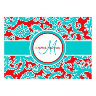 Tarjeta de la turquesa, del rojo, y blanca del dam plantillas de tarjetas personales