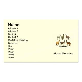Tarjeta de la visita del criador de la alpaca tarjetas de visita
